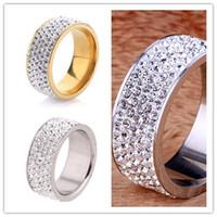 Luxueux 5 Row Lines Clear Crystal Fashion 8MM en acier inoxydable Bagues de fiançailles en gros 18K plaqué or anneaux brillants strass TS1