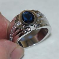 anniversary gem stones - Men s Silver Blue Sapphire Simulated Diamond CZ Gem Stone Rings Engagement Wedding Anniversary Band Jewelry boys