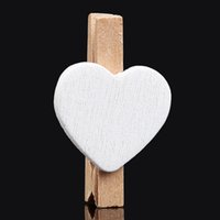 Wholesale 50pc Mini Heart Love Wooden Clothespin Craft Clips Wooden Letters For Decorations Summer Style Wedding Decoration