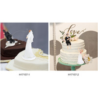 Wholesale Western Style Synthetic Resin Bride Groom Wedding Cake Topper Romantic Wedding Party Decoration Figurine Craft Gift H17157