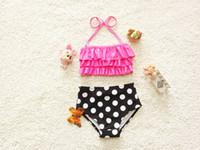 Wholesale Kids Swimming New arrival Swimwear Kids Swimming Bikinis Set Two Pieces Baby Girls Bathing Suit Children Dot Swimsuit