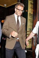 best david beckham - New Camel David Beckham suit custom made exceptional pieces man Tuxedos Groomsman Bridegroom Wedding best man suits Jacket Pants
