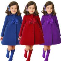 Wholesale Baby Girls Fashion Winter Bow Coat Kids Fashion Princess Long Coat Children Wool Blended Outwear Jackets Coats Trench Cardigan