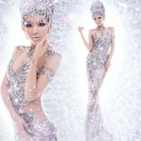 ballroom photos - Best sexy silver sequin mermaid backless evening dresses stage singer wear art photo clothing bling stage wear ballroom women dresses