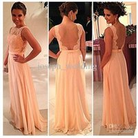 coral for sale - High quality nude back chiffon lace long peach color for sale cheap bridesmaid dress brides maid dress Backless QW708