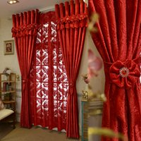 Wholesale 2016 Brand New Custom Made Luxury Italian Wool Curtain Living Room Red Curtains Joyous Wedding Eco Friendly Flocked Curtains Wedding Gifts