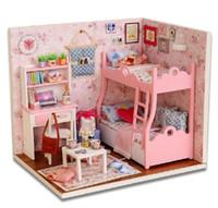 al por mayor gif muñeca-Venta al por mayor venta de la nueva Ariive DIY 3D Puzzle de madera muñecas en miniatura para casas de muñecas casa de niños Juegos de construcción Juegos Juguetes cumpleaños de la Navidad Gif