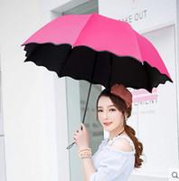flower umbrella - Candy color umbrella lady love princess magic flowers shape black coating sunscreen three folding umbrella