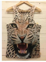 active cats - New Summer T shirt Fashion Women Men Leopard Animal D Sleeveless vest Tiger Cat Wolf d Vest Tanks Tops Tees Gym Bodybuilding Top