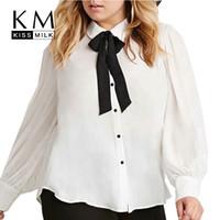 Wholesale Kissmilk Solid White Single Breasted Turn down Collar Long Sleeve Bow Blouse Autumn Chiffon Preppy Style Blouse Plus Size XL4XL5XL