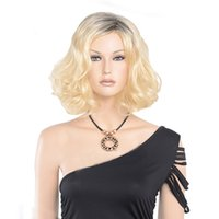 Wholesale Ombre Blonde Color Synthetic Wigs Two Tone Dark Roots Blonde Glueless Heat Resistant Fiber Hair Natural Wigs
