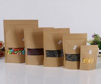 Wholesale Transparent Window opened kraft paper bag food grade self sealing bag convenient paper bag for storage food