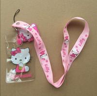 al por mayor insignia gatito-Venta al por mayor ! 50pcs Pink Hello Kitty correa de cuello correa para el cuello de tarjetas de identificación insignia / P Mobile Holder