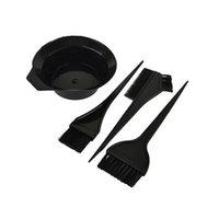 Wholesale 4Pcs Hairdressing Brushes Bowl Combo Salon Hair Color Dye Tint Tool Set Hair Coloring Kit Black