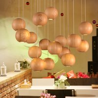 Wholesale Modern Native Wood Handmade Wooden Chandelier Hanging Lights LED Ball Pendant Lamp Ceiling Light Meteoric Shower Stair Light LED Lighting