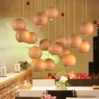 ball ceiling - Modern Native Wood Handmade Wooden Chandelier Hanging Lights LED Ball Pendant Lamp Ceiling Light Meteoric Shower Stair Light LED Lighting
