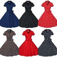audrey hepburn canvas - 1950s New Audrey Hepburn Vestidos Lapel Neck Plus Size Women Summer Black Retro Casual Party Robe Rockabilly Vintage Dresses OXL127