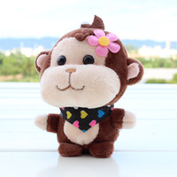 Wholesale Small Monkey Wholesale - 2016 new color Monkey Plush Toy doll key chain small pendant plush toys Stuffed Animals wholesale 10cm