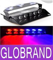 Wholesale 6 LED Police Emergency Strobe Lights Dash board Windshields lamp Car Truck Light DC12V RED BLUE WHITE AMBER GLO373