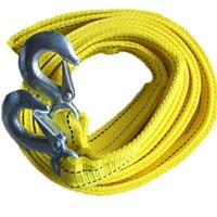Wholesale Yellow Car kg m Tow Towing Rope Nylon Traction Rope Steel Hooks Emergency