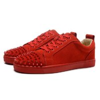 Wholesale sizes France low top brand men sneakers Red Bottom shoes red soles women shoes Genuine Leather fashion casual with Rivet spike Flats