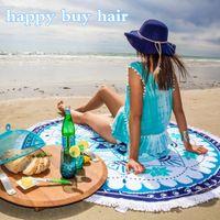 aquatic bath - 150 cm Cotton Round Beach Towels SwimZip AQUATIC LOTUS Luxury Velour Round Beach Towel Yoga Mat Towel Summer Style DHL