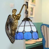 bedroom vanities - Tiffany wall lamp sconce light Simple Creative stained glass bedroom blue white wall lights corridor bedside bathroom vanity lighting walls