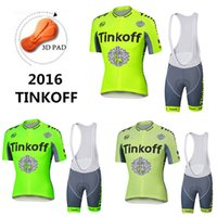 Wholesale Tinkoff Saxo Bank Cycling Jerseys Set Short Sleeve Green Fluo Tour De France Road Bike Clothing With Bib Padded Pants Size XS XL