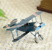 Wholesale Vintage Metal Plane Model Iron Retro Aircrafts Glider Biplane mini Airplane Model Toy Christmas Home Decoration