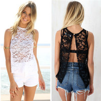 beach tshirts - Hot Summer Beach Clothes for Women Lace Sleeveless Camis Tshirts One Button Backless Tank Tops