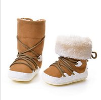 Wholesale Newborn Baby Girls Boys Snow Boots Shoes Soft Crib Toddler Infant Warm Fleece First Walkers Winter First Walkers