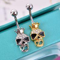 belly ring shop - 4pcs Piercing Shop Brand Black Enamel Skull Skeleton Body Jewelry Piercings Navel Belly Button Ring Accessories Steampunk Men Jewelry