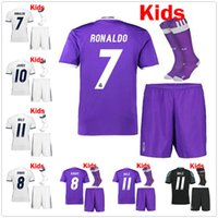 Wholesale 2017 real madrid RONALDO kids soccer jerseys Uniforms sets youth boys child kits Home White Purple RONALDO JAMES BALE football shirts