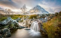 abstract art uk - 24X36 INCH ART SILK POSTER nature landscape mountain water lake trees Scotland UK rock water fall clouds snow