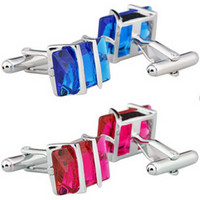 Wholesale Vintage Blue Stainless Men Wedding Party Gift Shirt Cuff Link Cufflinks Red C00440 CAD