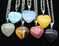 Wholesale New Natural Gemstone heart style pendants Necklaces of the original natural stone style Pendant Necklaces Jewelry Chains