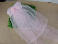 Wholesale Tulle Little Girls Pink Veil with Beading Kids Head Pieces for Weddings and Events cm Length in Ivory White