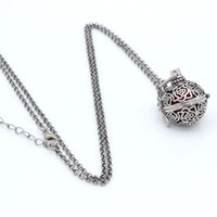Wholesale Charms Antique Silver Rose Flower Hollow Cage Locket Fragrance Essential Oil Aromatherapy Diffuser Necklace Womens Fashion Jewelry