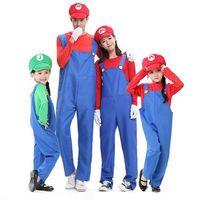 beauty overalls - New Halloween Kids Children Super Mario Costume Suit Cosplay Theme Uniform Plumbers Overalls Cap Moustache Party Clothing Props