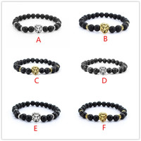 Wholesale Antique Gold Silver Plated Buddha Leo Lion Head Bracelet Black Lava Natural Stone Beaded Bracelets For Men Women