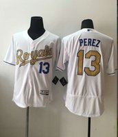 Wholesale 2016 New MLB Kansas City Royals Baseball Jerseys Salvador Perez Majestic White World Series Champions Gold Program Stitched Name Number