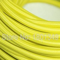 Wholesale meters Yellow Color mm2 Textile Electrical Wire Color Braided Wire Fabric Covered Electrical Power Cord Wire Cable
