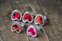 african ethnic art - Lovely heart shaped jewelry handmade embroidery embroidery Miaoxiu old ring art RETRO ethnic Miao silver ring JZ00477