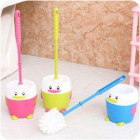 toilet brush - Plastic Bathroom Toilet Brush Set Penguin Holder Cartoon Printed Household Strong Toughness Non slip Handle Cleaning Accessories
