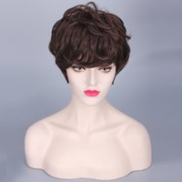 bangs haircuts - heat resistant synthetic puffy short brown wigs for black women natural african american wig with bangs female wavy hair haircuts perucas