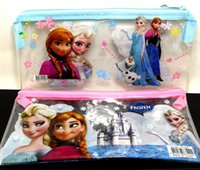 Wholesale 20pcs PVC Transparent Frozen Pencil case pen bag frozen stationery Hot Kids Gift Favor