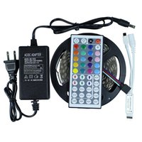 Wholesale Led Strip RGB Leds Flexible LED Tape IP44 Non waterproof Key IR Remote RGB Controller V A W Power Adapter