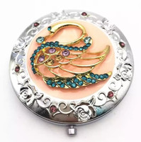 Wholesale Little Swan Round Rhinestone Makeup Mirrors Cosmetic Compact Mirror Magnify Double Side Folding Pocket Mirrors Women Make Up Accessories