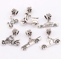 bicycle love - 90pcs styles Antique Silver Motorcycle Bike Bicycle Truck Big Hole Charm Beads Fit European Bracelets Jewelry DIY BM5