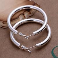 Wholesale 925 stering silver jewelry silver hoop earring hot sale fashion women emerald finding new mm empty tube round hoop earing